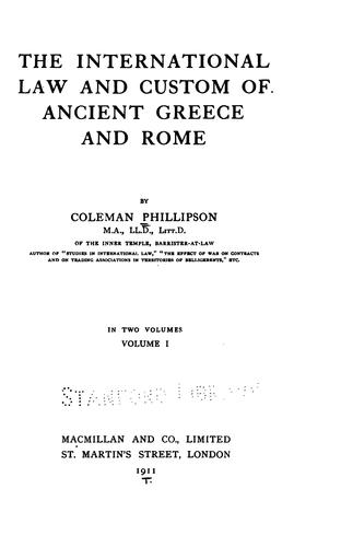 The international law and custom of ancient Greece and Rome