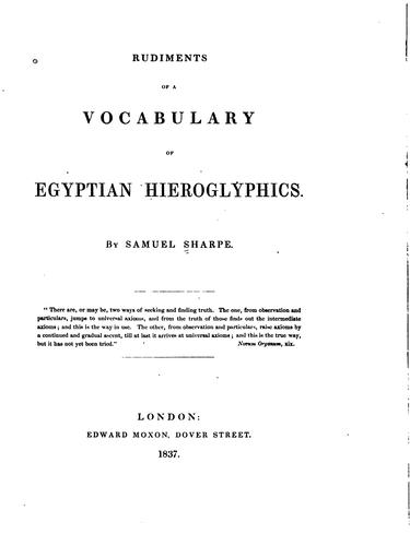 Download Rudiments of a vocabulary of Egyptian hieroglyphics.