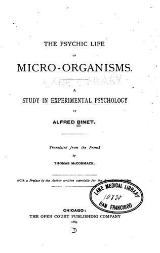 Download The Psychic Life of Micro-Organisms.