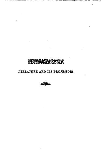 Literature and its professors.