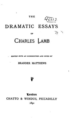 Download The dramatic essays of Charles Lamb.
