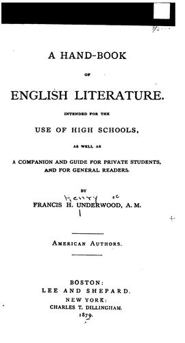Download A hand-book of English literature