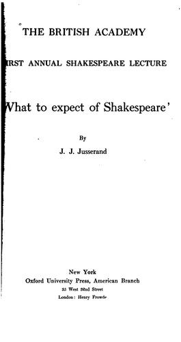 Download What to expect of Shakespeare,'