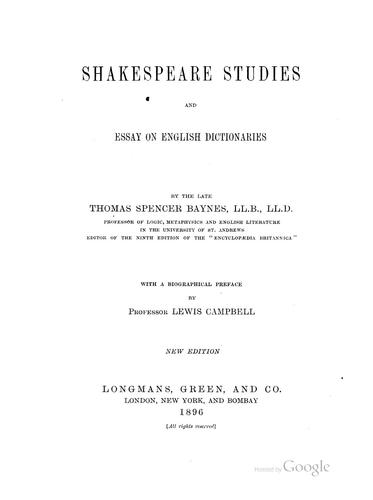 Shakespeare studies and essay on English dictionaries