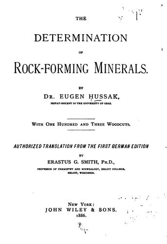 The determination of rock-forming minerals.
