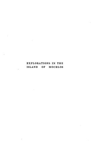 Download Explorations in the island of Mochlos