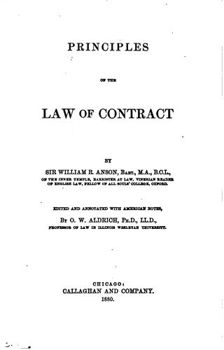 Principles of the law of contract
