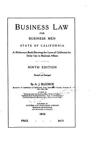 Download Business law for business men, state of California