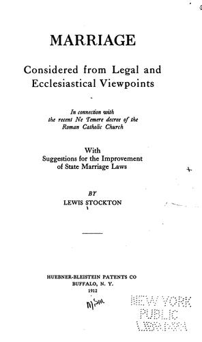 Marriage considered from legal and ecclesiastical viewpoints