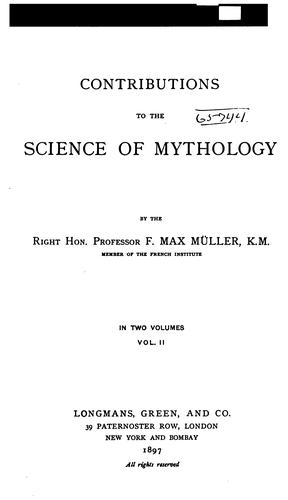 Download Contributions to the science of mythology