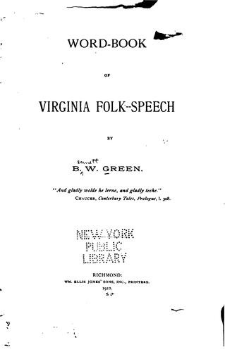 Word-book of Virginia folk-speech