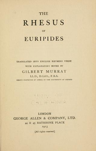 The  Rhesus of Euripides