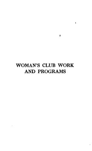 Download Woman's club work and programs