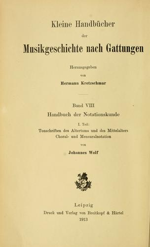 Download Handbuch der notationskunde
