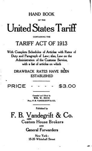 Hand book of the United States tariff