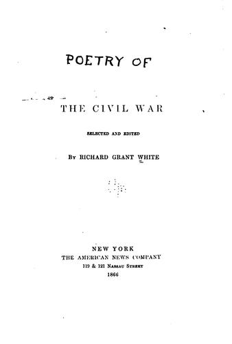 Download Poetry, lyrical, narrative and satirical, of the Civil War