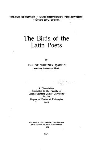 Download The birds of the Latin poets