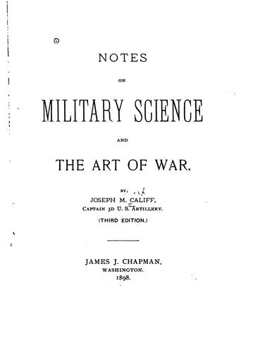 Notes on military science and the art of war.