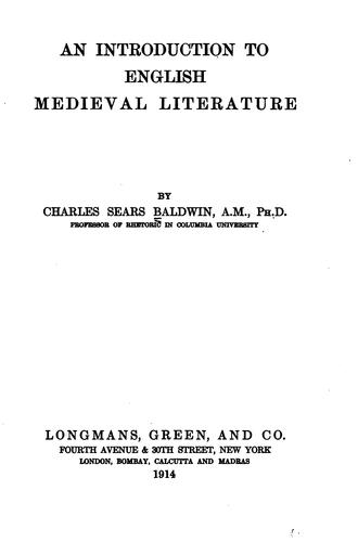 Download An introduction to English medieval literature