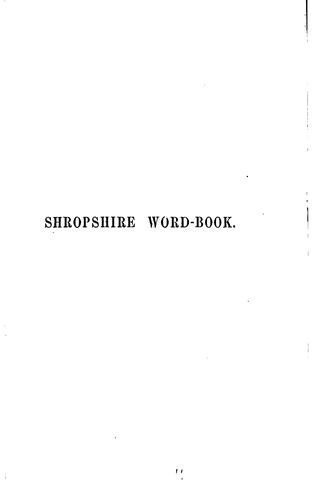 Shropshire word-book by Georgina F. Jackson
