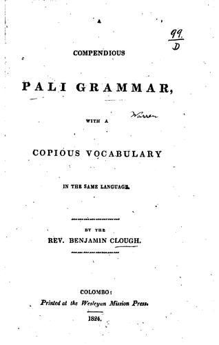 A compendious Pali grammar by Benjamin Clough