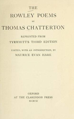 The Rowley poems by Thomas Chatterton