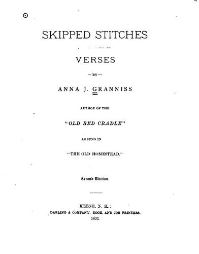 Skipped stitches, verses by Anna J. Granniss