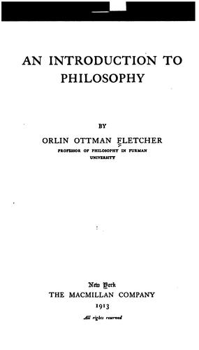 An introduction to philosophy by Orlin Ottman Fletcher