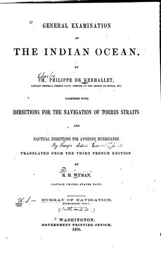 General examination of the Indian Ocean by Charles Philippe de Kerhallet