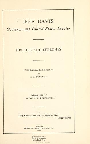 Jeff Davis, governor and United States senator by Davis, Jeff